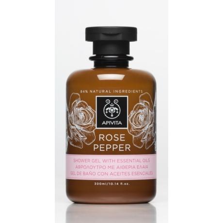 APIVITA Tusfürdő illóolajokkal, bőrfiatalító rózsával & borssal 300ml