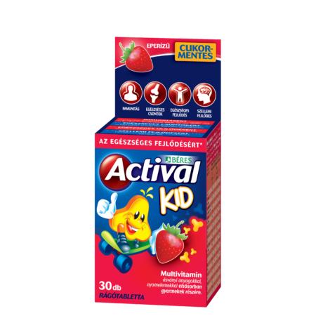 Béres Actival Kid rágótabletta eper ízű 30x