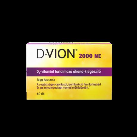 D-Vion 2000 NE D3-vitamint tartalmazó étrend-kiegészítő lágy kapszula 60x