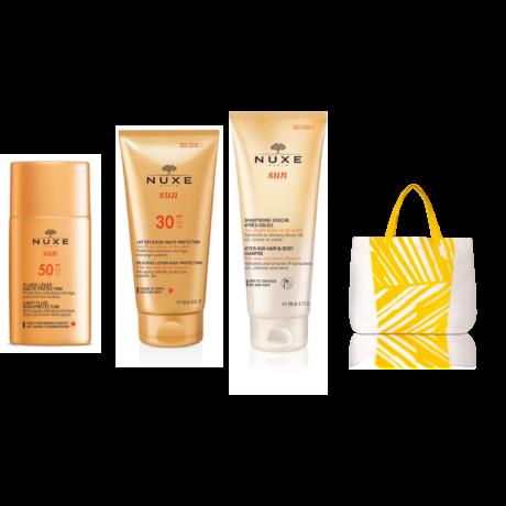 Nuxe sun csomag (Fluid arcra SPF50 50ml+napozás utáni tusfürdő 200ml+napozás utáni lotion 100ml+strandtáska)
