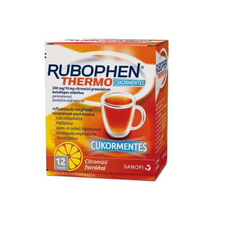 Rubophen Thermo cukormentes 500 mg/10 mg citromízű granulátum belsőleges oldathoz 12x