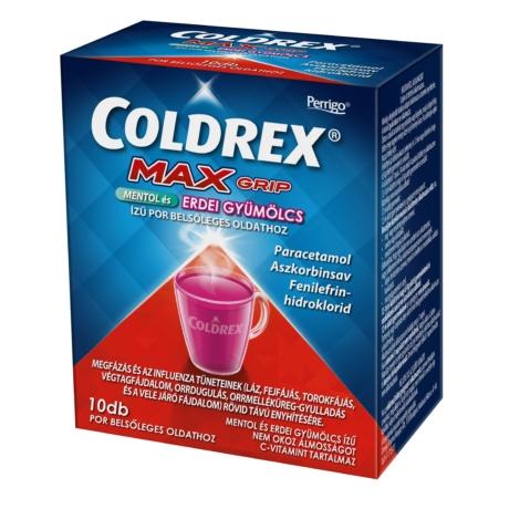 Coldrex MaxGrip mentol és erdei gyümölcs ízű por belsőleges oldathoz 10x