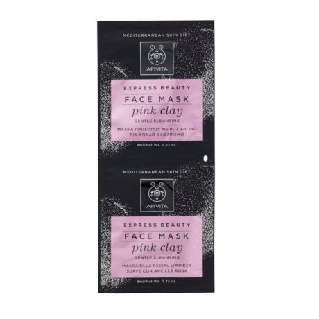 APIVITA Express tisztító arcmaszk - Rózsaszín agyaggal 2x8 ml